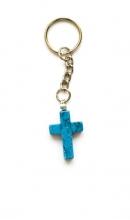 Sleutelhanger met blauw kruis