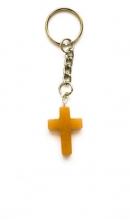 Sleutelhanger met licht bruin kruis