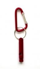Sleutelhanger karabijn met fluitje rood