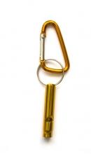 Sleutelhanger karabijn met fluitje geel