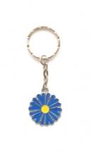 Sleutelhanger bloem blauw met geel