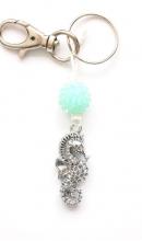 Sleutelhanger metaal zeepaard turquoise
