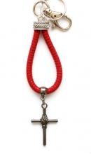 Sleutelhanger rood leer kruis