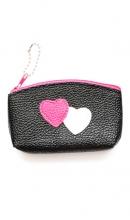 sleutelhanger zwart tasje met hartjes