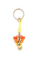Sleutelhanger oranje vlinder met bel