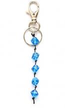 Sleutelhanger met kraal in de vorm van dobbelsteen blauw