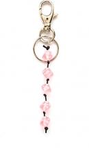 Sleutelhanger met kraal in de vorm van dobbelsteen roze