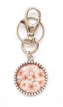Sleutelhanger bloem roze van glas
