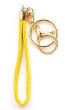 Sleutelhanger kunstleer geel lak