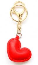 Sleutelhanger hart rood kunstleer