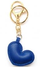 Sleutelhanger hart blauw kunstleer