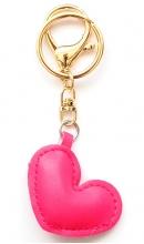 Sleutelhanger hart fuchsia kunstleer