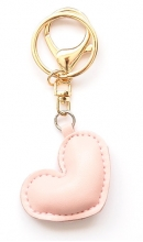 Sleutelhanger hart roze kunstleer