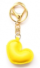 Sleutelhanger hart geel kunstleer