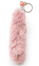 Sleutelhanger pluche staart oud roze