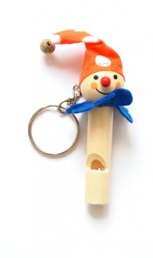 Sleutelhanger vrolijke clown met fluit E