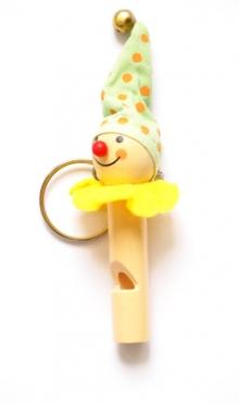 Sleutelhanger vrolijke clown met fluit G