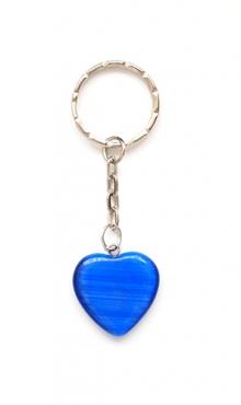Sleutelhanger hart van glas donker blauw