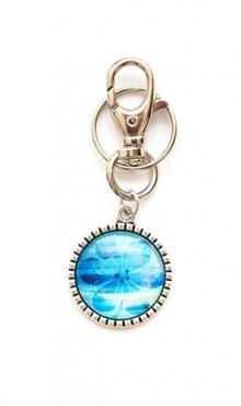 Sleutelhanger bloem blauw van glas