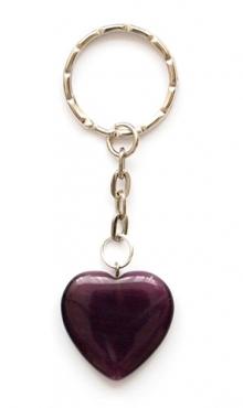 Sleutelhanger hart van glas donker paars