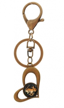 Sleutelhanger hart bronskleurig Steenbok