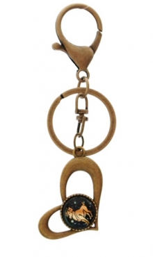 Sleutelhanger hart bronskleurig Ram