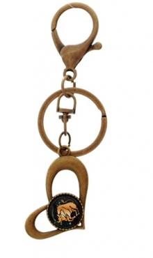 Sleutelhanger hart bronskleurig Stier