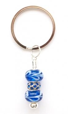 Sleutelhanger kraal blauw en strass