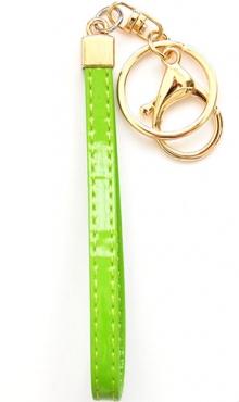 Sleutelhanger kunstleer groen lak
