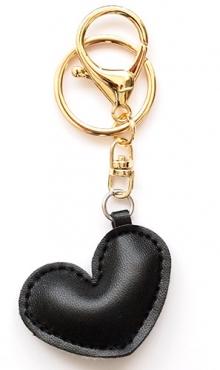 Sleutelhanger hart zwart kunstleer