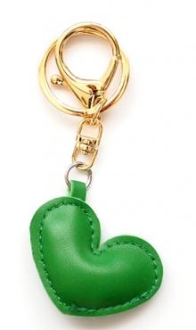 Sleutelhanger hart groen kunstleer