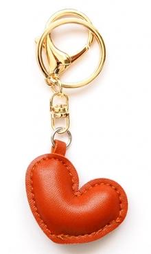 Sleutelhanger hart bruin kunstleer