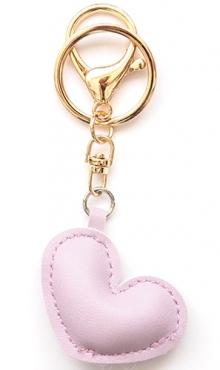 Sleutelhanger hart lila kunstleer