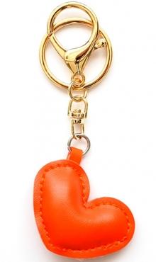 Sleutelhanger hart oranje kunstleer