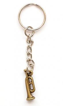 Sleutelhanger trompet bronskleurig