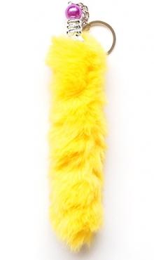 Sleutelhanger pluche staart geel