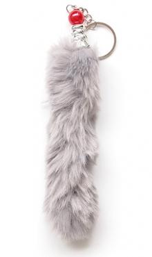 Sleutelhanger pluche staart grijs
