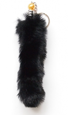 Sleutelhanger pluche staart zwart