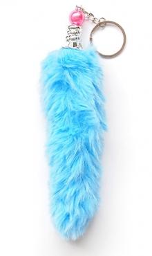 Sleutelhanger pluche staart licht blauw